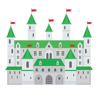 Vectorillustratie van een kasteel in vlakke stijl. middeleeuws stenen fort