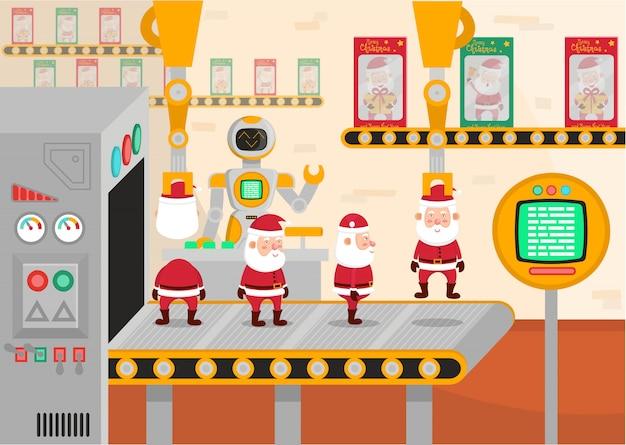 Vectorillustratie van een kersttransportband. robot pakt speelgoed kerstmannen in.