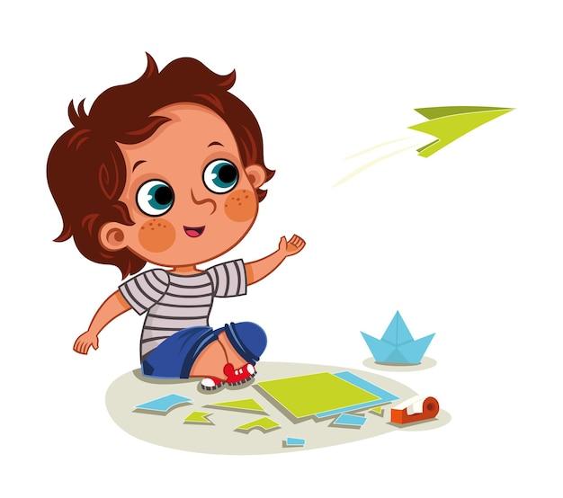 Vectorillustratie van een kind dat een papieren vliegtuigje maakt en ermee speelt?