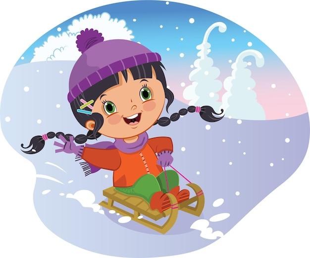 Vectorillustratie van een klein meisje dat plezier heeft met schaatsen met slee