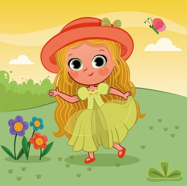 Vectorillustratie van een klein meisje in de natuur