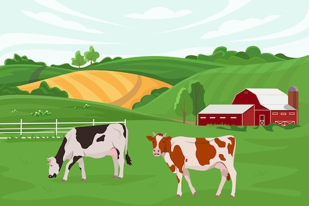 Vectorillustratie van een koeienboerderij en landbouw veeteelt