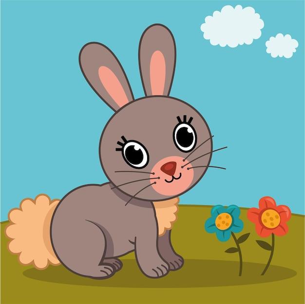 Vectorillustratie van een konijn in de natuur