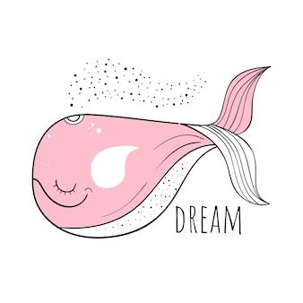 Vectorillustratie van een leuke walvis. skandinavische motieven. cartoon achtergrond.