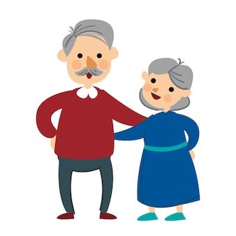Vectorillustratie van een liefhebbend bejaarde echtpaar bejaard verliefd paar illustratie van liefhebbende bejaarden