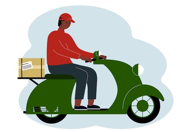 Vectorillustratie van een man bezorger op een scooter met een doos