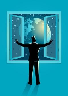 Vectorillustratie van een man die het raam opent om de wereld te zien