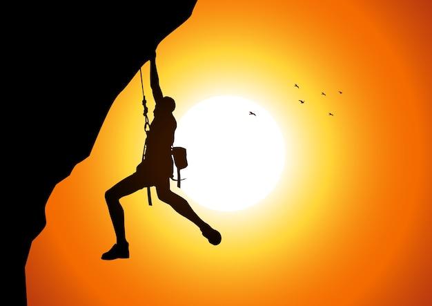 Vectorillustratie van een man figuur opknoping op de klif