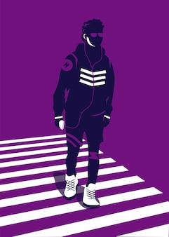 Vectorillustratie van een man in trendy stijl die een zebrakruis kruist