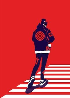 Vectorillustratie van een man in trendy stijl die een zebrakruis oversteekt, van achteren gezien