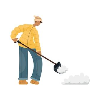 Vectorillustratie van een man in winterkleren die sneeuw op straat schoonmaakt.