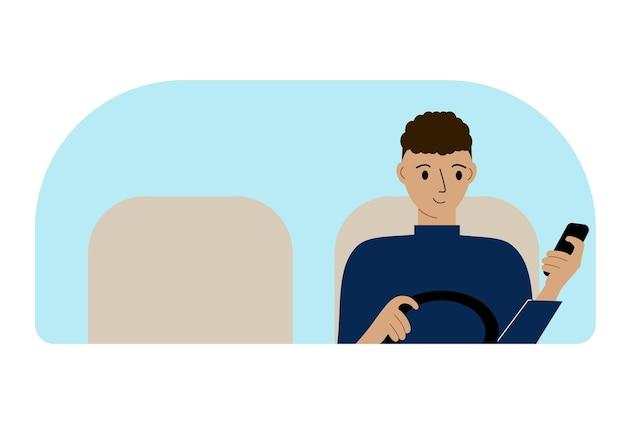 Vectorillustratie van een man met één hand bestuurt een auto en een mobiele telefoon in de andere hand