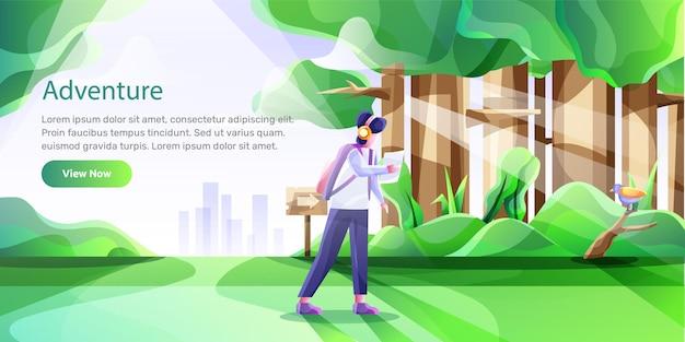 Vectorillustratie van een man op avontuur in het bos
