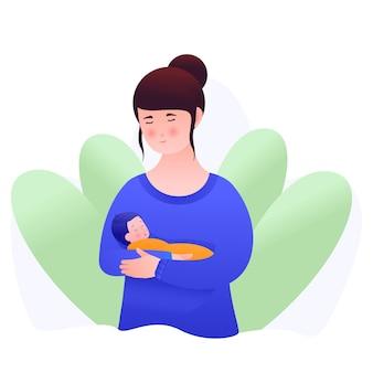Vectorillustratie van een moeder die haar kind vasthoudt