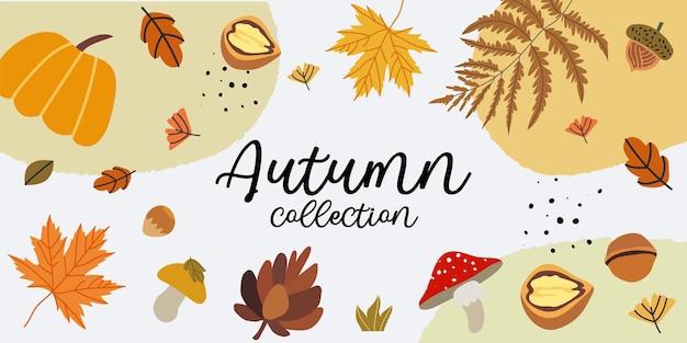Vectorillustratie van een nieuwe herfstcollectie, winkelverkoop of promo-poster of webbaner-lay-out versierd met bloemenelementen zoals dennenappel, eikel, esdoornbladeren, pompoen, paddenstoelen en varens.