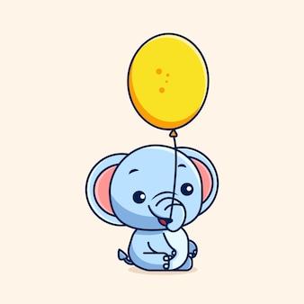Vectorillustratie van een olifant met een ballon met zijn slurf