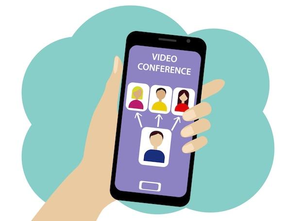 Vectorillustratie van een online conferentie per telefoon. pictogrammen voor personen en operators