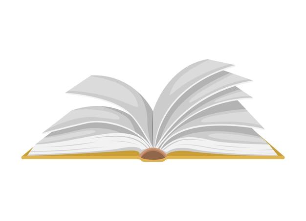 Vectorillustratie van een open boek. geïsoleerde illustratie van het omslaan van pagina's.