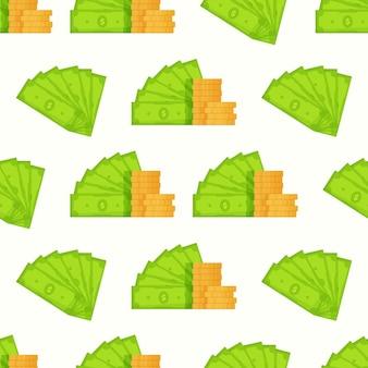 Vectorillustratie van een patroon van bundels dollars. naadloze achtergrondillustratie van valuta's. groen geld. kapitaalgroei.