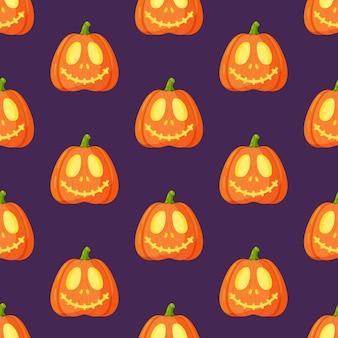 Vectorillustratie van een patroon van pompoenen geïsoleerd op een paarse achtergrond. naadloze halloween-achtergrond met oranje pompoengezichten. eng vakantiebehang