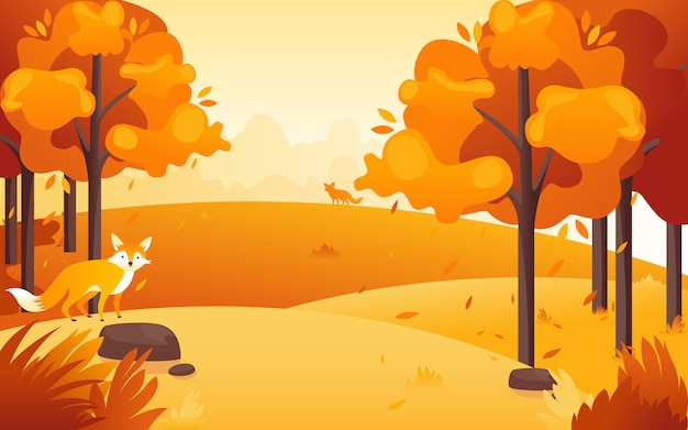 Vectorillustratie van een plat ontwerp van een middag uitzicht op het park wanneer de zon ondergaat met een schattige kleine vos.