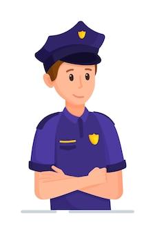 Vectorillustratie van een politieagent karakter politieagent in uniform klaar om te werken