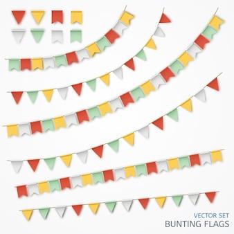 Vectorillustratie van een realistische slinger van kleurrijke vlaggen.