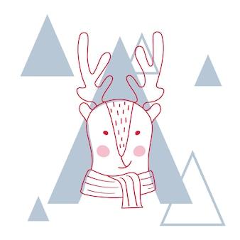 Vectorillustratie van een schattig hert in sjaal.