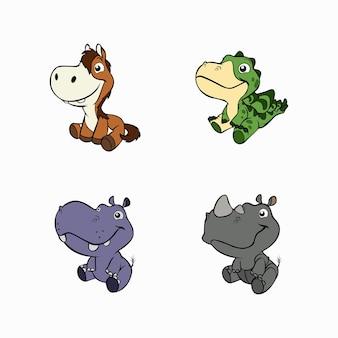 Vectorillustratie van een schattig klein paard krokodil nijlpaard en neushoorn dier set