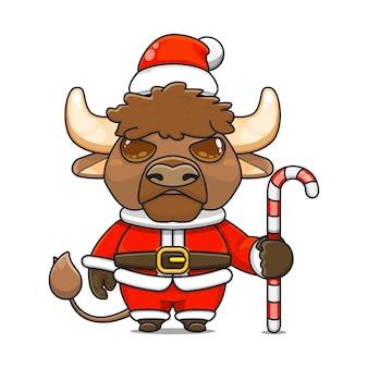 Vectorillustratie van een schattige mascotte van een monsterstier die een kerstkostuum draagt met een snoepriet?