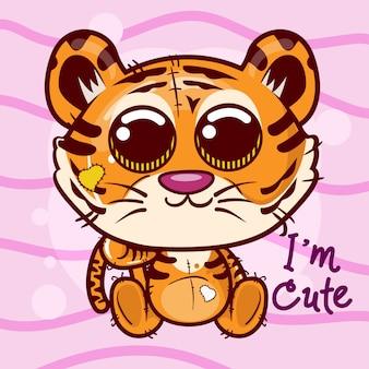 Vectorillustratie van een schattige tijger. - vector