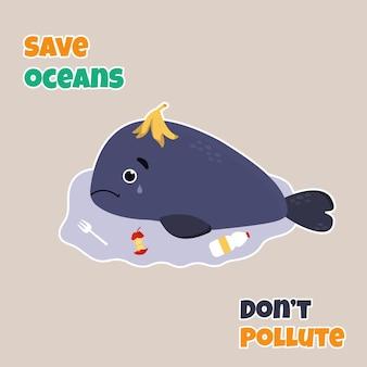 Vectorillustratie van een schattige trieste walvis onder afval. stop met het vervuilen van het ecoconcept