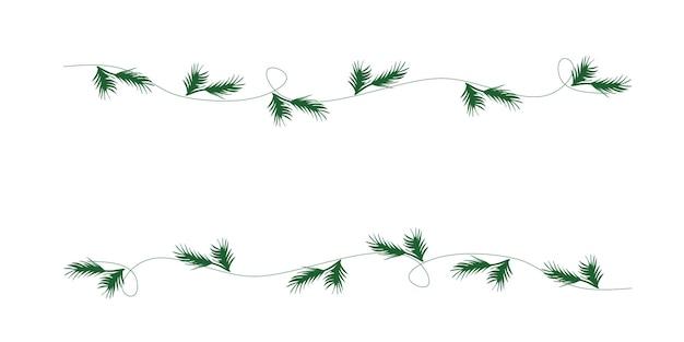 Vectorillustratie van een slinger van kerstboomtakken voor een feestelijke stemming