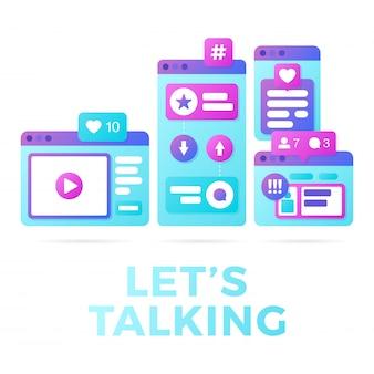 Vectorillustratie van een sociaal media communicatie concept. het woord laat praten met kleurrijke cross-platform browservensters