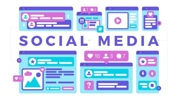 Vectorillustratie van een sociaal media communicatie concept. het woord sociale media met kleurrijke platformonafhankelijke browservensters
