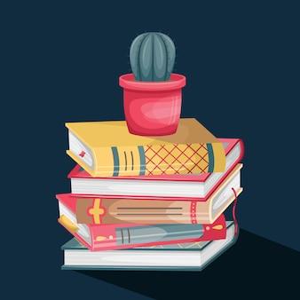 Vectorillustratie van een stapel boeken met retro covers en een pot met een cactus bovenop.