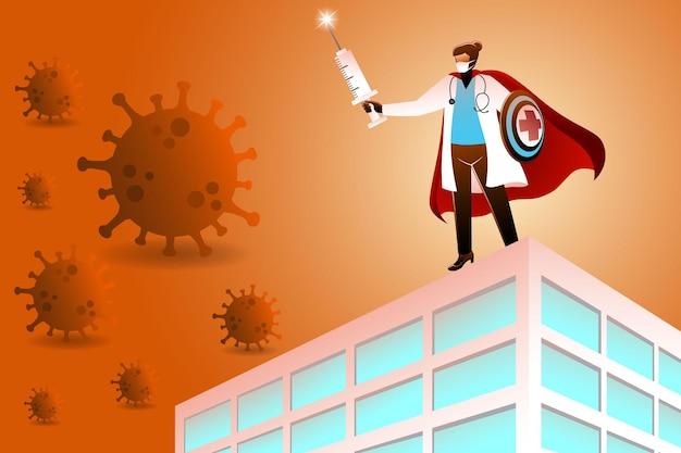Vectorillustratie van een superheld-doktervrouw die op een ziekenhuisgebouw staat met een injectiespuit en een schild dat pandemische virussen bestrijdt?