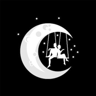 Vectorillustratie van een verliefde paar spelen op een schommel op de maan