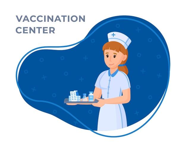 Vectorillustratie van een verpleegster. concept van een verpleegster met medicijnen in haar handen geïsoleerd op een blauwe en witte achtergrond. ziekenhuispersoneel.