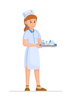 Vectorillustratie van een verpleegster geïsoleerd op een witte achtergrond. portret van een jonge verpleegster met medicijnen in haar handen. verpleegkundige in uniform.