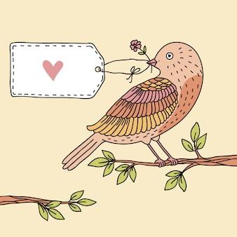 Vectorillustratie van een vogel en een ruimte voor uw tekst
