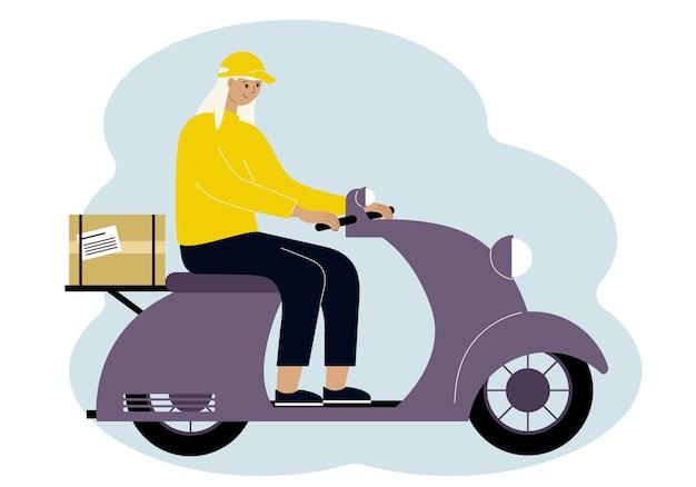 Vectorillustratie van een vrouw bezorger op een scooter met een doos