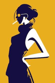 Vectorillustratie van een vrouw die een jurk draagt in een trendy stijl die rookt en een bril draagt