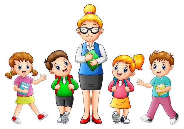 Vectorillustratie van een vrouwelijke leraar met studenten