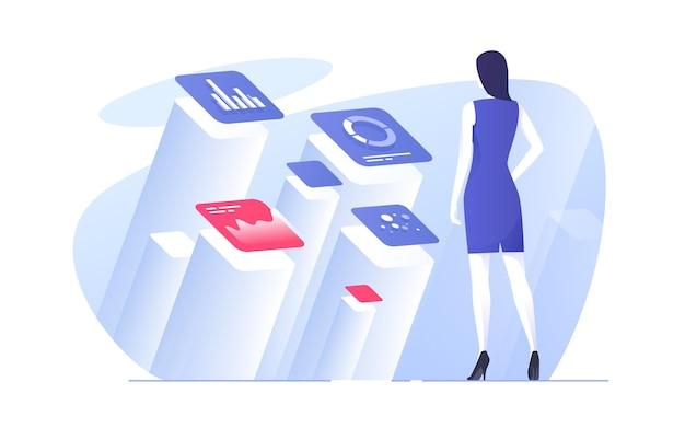 Vectorillustratie van een zakenvrouw die gegevens analyseert