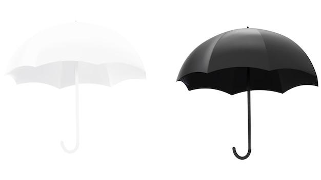 Vectorillustratie van een zwart-witte paraplu geïsoleerd.