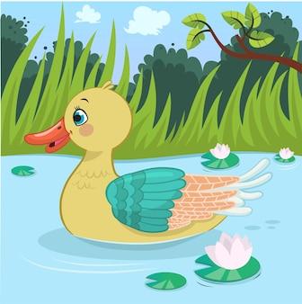 Vectorillustratie van een zwemmende eend
