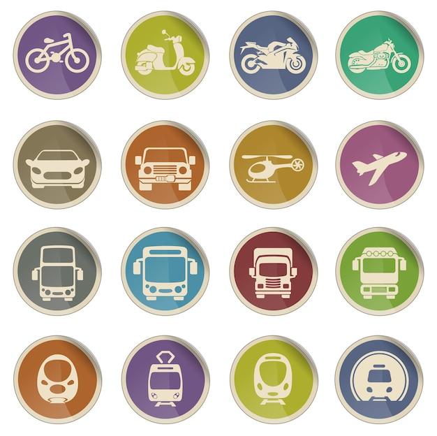 Vectorillustratie van eenvoudige voertuig- en transportgerelateerde pictogrammen voor uw ontwerp of toepassing.