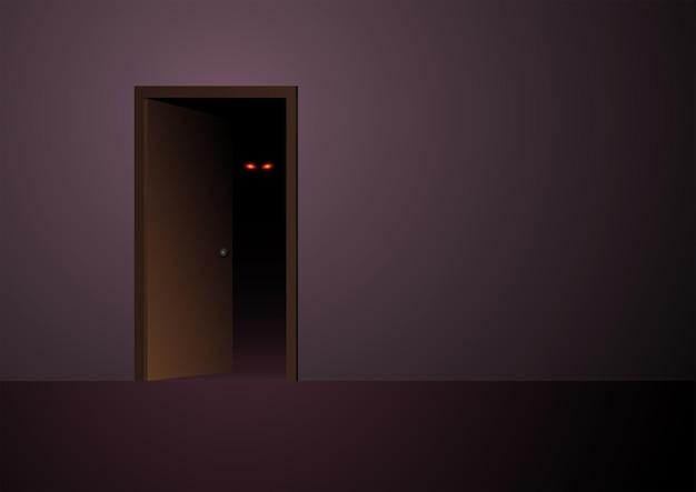 Vectorillustratie van enge boze ogen die op de loer liggen vanuit een donkere kamer, geschikt voor horror of halloween-thema