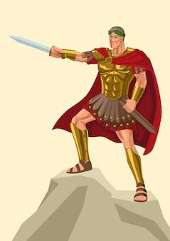 Vectorillustratie van gaius julius caesar die op rots met zijn gladius staat